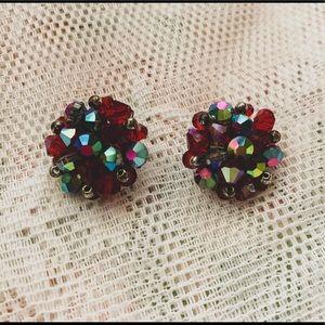 Vintage clip-on multicolored earrings